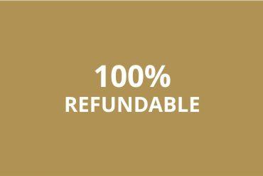 """immagine con scritto """"100% refundable"""" (100% rimborsabile)"""